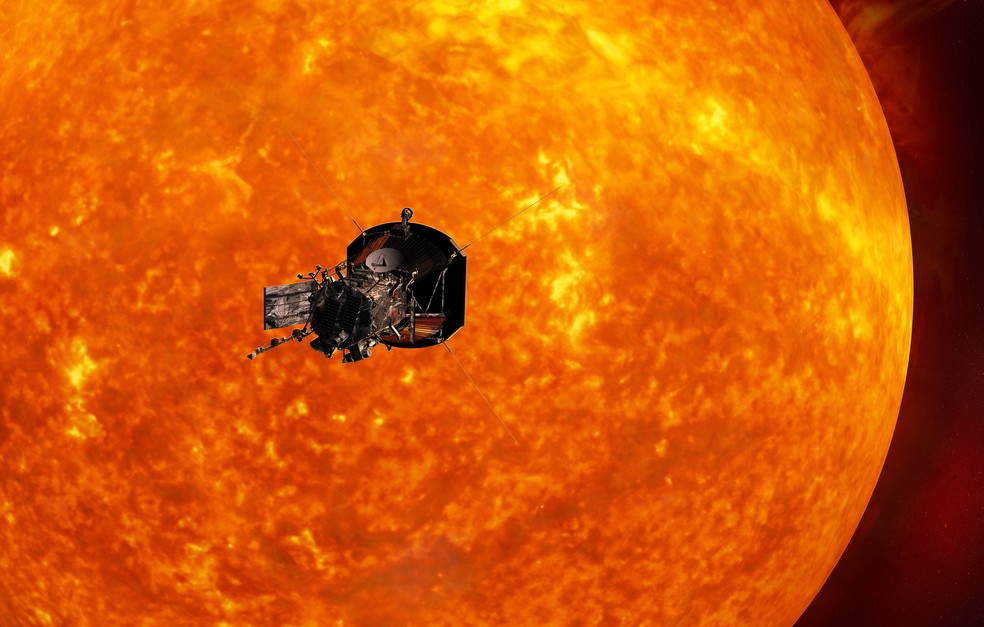Concepção artística da sonda Solar Probe Plus se aproximando do Sol (Foto: Johns Hopkins University Applied Physics Laboratory)