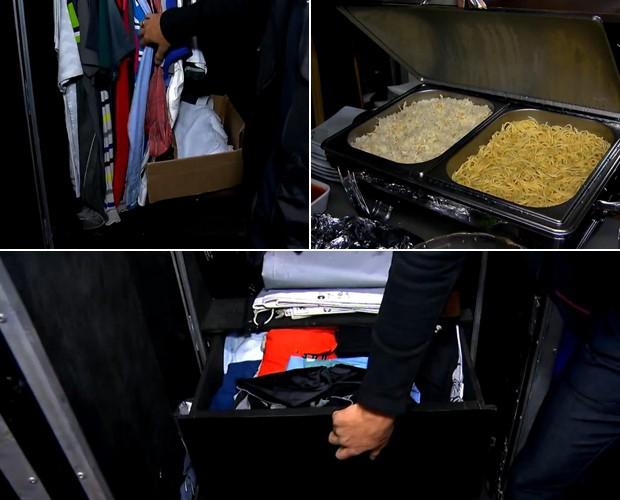 Camisas penduradas, gaveta, comida... O camarim dele tem tudo! (Foto: Reprodução / TV Globo)