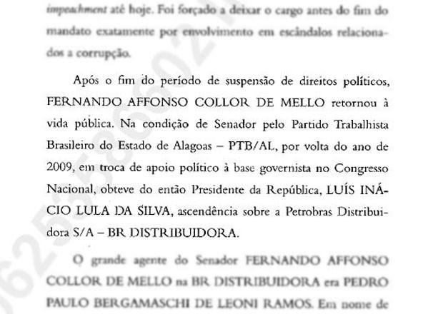 Trecho da denúncia que o procurador-geral enviou ao Supremo  (Foto: Reprodução)