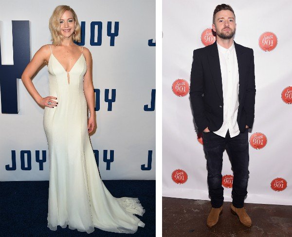 A atriz Jennifer Lawrence e o cantor e ator Justin Timberlake (Foto: Getty Images)