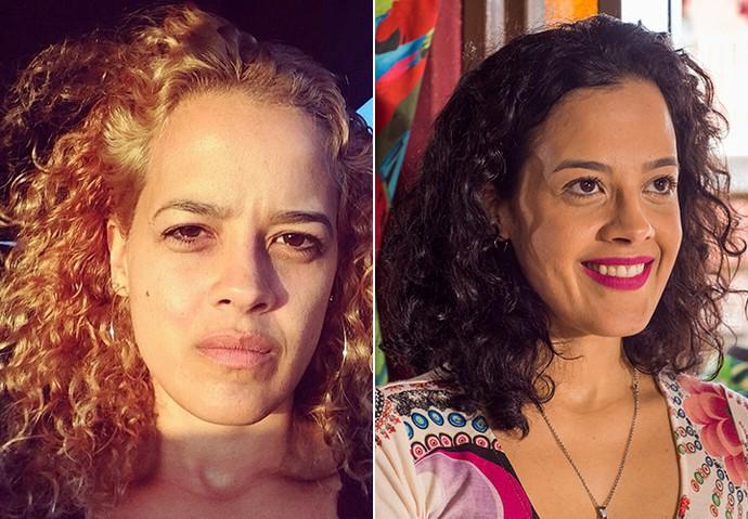Loira para o filme 'Boi Neon' e com os cabelos naturais, como Domingas de 'A Regra do Jogo' (Foto: Arquivo pessoal e TV Globo / Caiuá Franco)