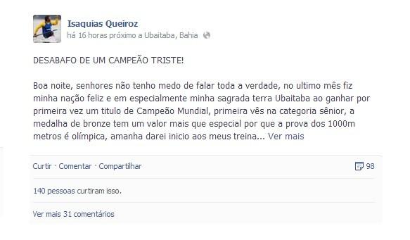 Isaquias Queiroz desabafou em rede social (Foto: Reprodução Facebook)