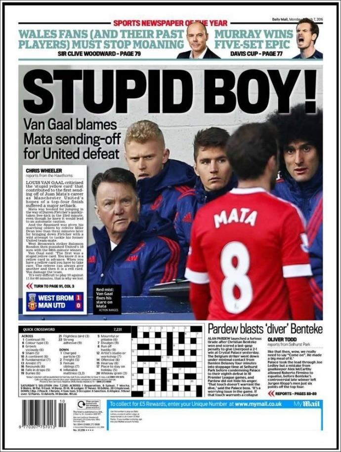 """BLOG: Após expulsão, Juan Mata vira alvo da imprensa inglesa: """"Garoto estúpido"""""""