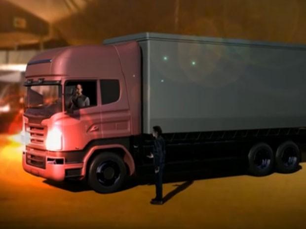 Caminhão foi usado no furto de celulares e tablets (Foto: Reprodução/TV Globo)