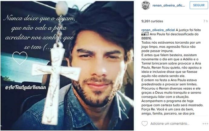 post da família do Renan sobre a saída de Ana Paula (Foto: Reprodução/Internet)