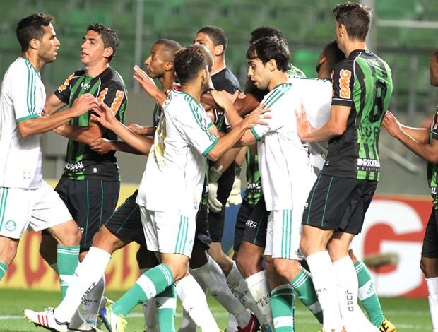 Confusão Palmeiras e América-mg (Foto: Paulo Fonseca / Futura Press)