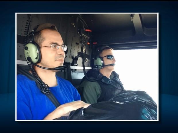 Médicos vão de helicóptero buscar coração para transplante em Campinas (Foto: Reprodução/EPTV)