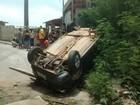 Cinco pessoas ficam feridas após carro capotar em Coronel Fabriciano