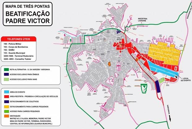 Mapa mostra como será o acesso para a beatificação em Três Pontas (Foto: Associação Padre Victor)