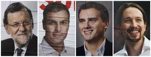 Combinação de fotos mostra cartazes com os principais candidatos ao cargo de chefe de governo na Espanha: Mariano Rajoy (PP), atual presidente do governo, Pedro Sánchez (PSOE), Albert Rivera (Ciudadanos) e Pablo Iglesias (Podemos) (Foto: REUTERS/Jon Nazca)
