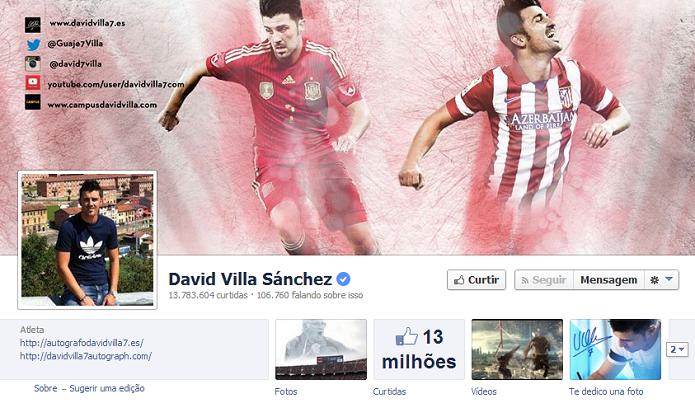 Davi Villa Sánchez do Atlético de Madrid  tem13,703,507 de fãs no Facebook (Foto: Reprodução/Facebook)