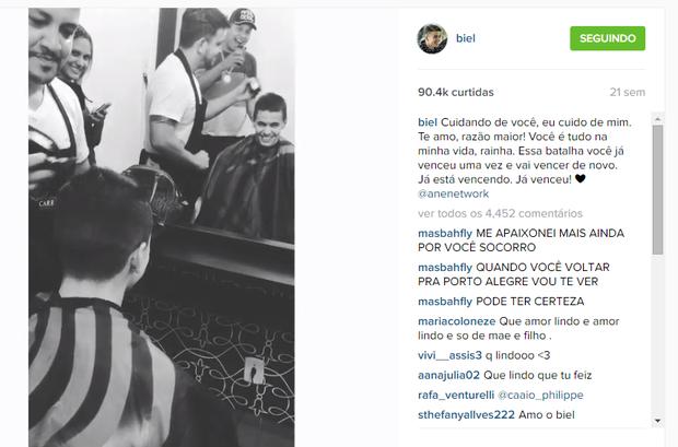 Biel raspa a cabeça para ser companheiro da mãe (Foto: Reprodução/Instagram)