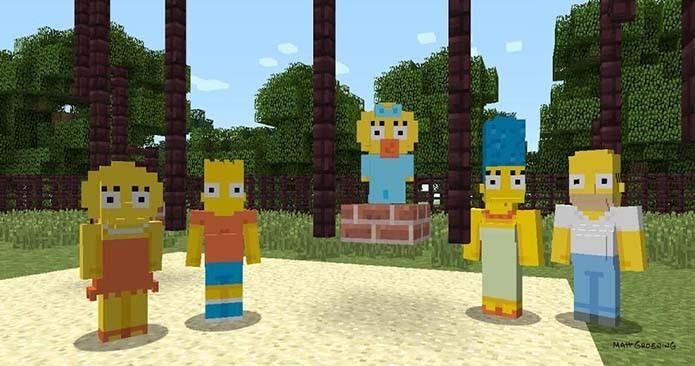 Minecraft para videogames PlayStation agora tem skins de Os Simpsons; saiba como usar (Foto: Divulgação)