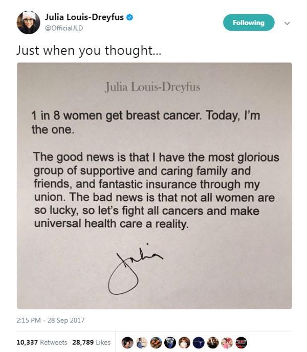 Comunicado de Julia Louis-Dreyfus (Foto: reprodução/ twitter)