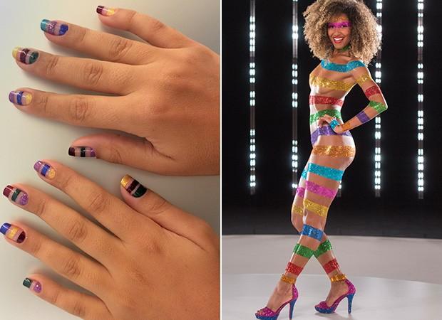 Carnaval 2016: veja como fazer nail art nas unhas com as cores usadas na pintura corporal da Globeleza 2016 Erika Moura (Foto: Ego/TV Globo)