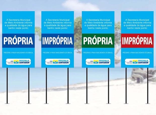 Modelos das placas que serão fixadas nas praias de Alter do Chão (Foto: Reprodução/TV Tapajós)