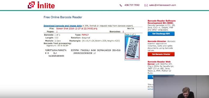 Exemplo mostra leitura do código de barras do usuário (Foto: Reprodução/Felipe Vinha)
