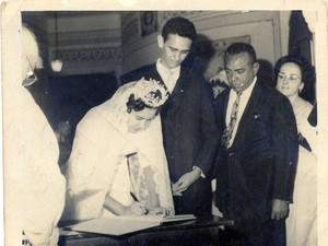 Carlos André com o ilustre padrinho de casamento, Luiz Gonzaga (Foto: Arquivo Pessoal)