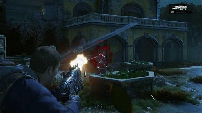 Mire sempre na cabeça em Gears of War 4 (Foto: Reprodução/Murilo Molina)
