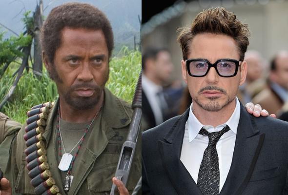 Robert Downey Jr em 'Trovão Tropical' e na vida real (Foto: Divulgação)