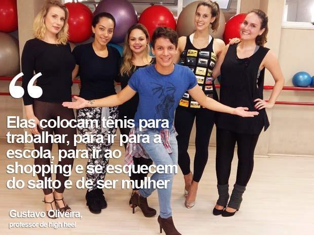 O professor Gustavo Oliveira e as alunas de high heel em academia em Brasília (Foto: Isabella Calzolari/G1)