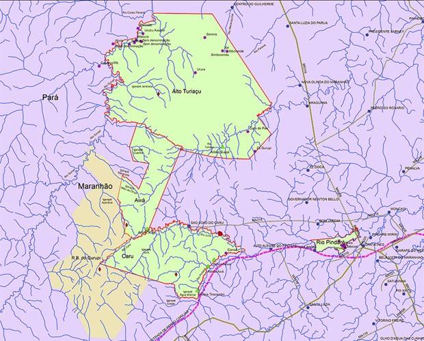 Mapa em verde mostra área do Território indígena Awá-Guajá, que será desocupado após decisão da Justiça Federal (Foto: Reprodução/Funai)