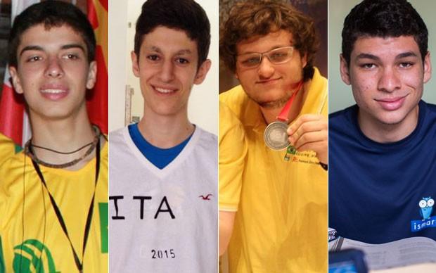 Allan dos Santos Costa, Felipe Alex Hofman, Mateus Bezrutchka e Gustavo Torres Silva foram aprovados no MIT (Foto: Arquivo pessoal/IOI2014/Victor Moriyama/G1)