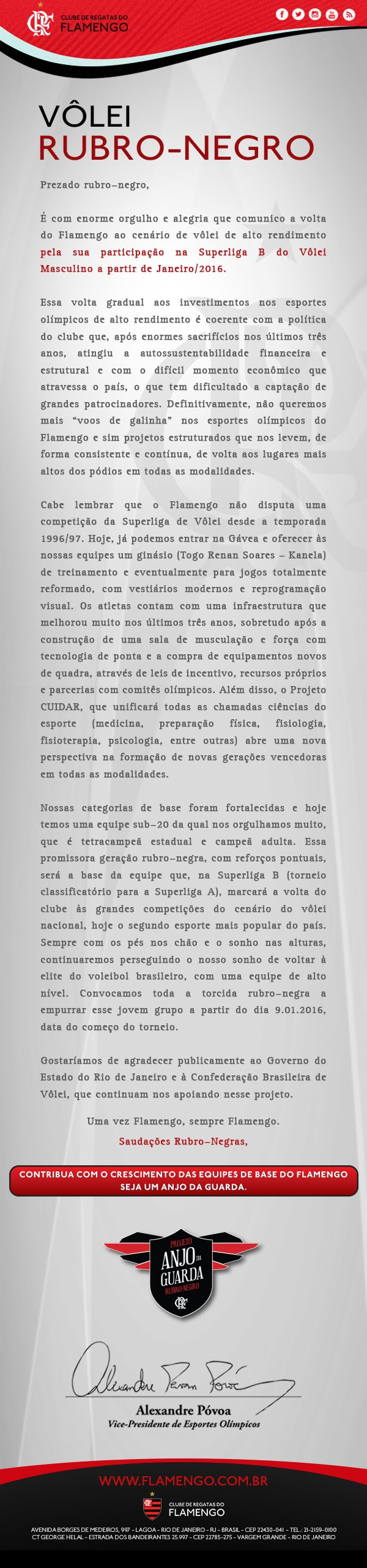 vôlei flamengo comunicado alexandre póvoa (Foto: Reprodução / Flamengo)