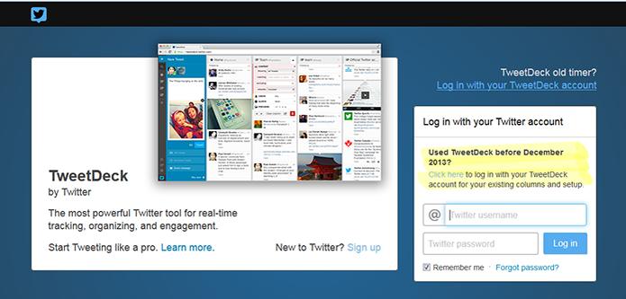 Login TweetDeck será substituído por conta do Twitter até 31 de março (Foto: Reprodução/Barbara Mannara)