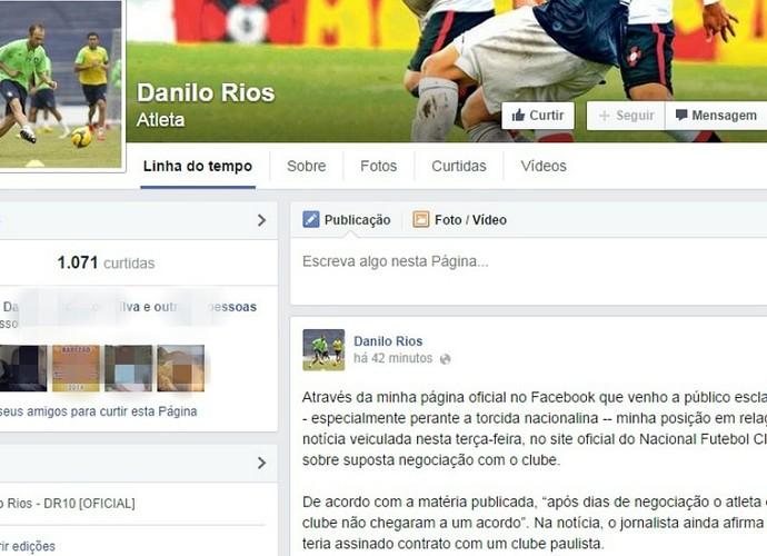 Danilo Rios Nacional (Foto: Reprodução/facebook)