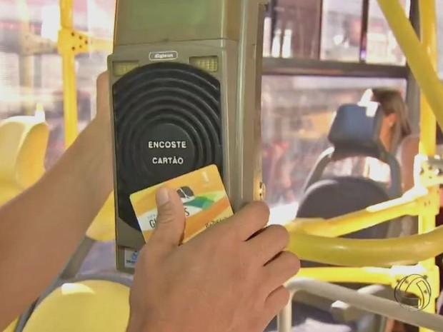 Catraca eletrônica de ônibus do transporte coletivo de Campo Grande (Foto: Reprodução/TV Morena)