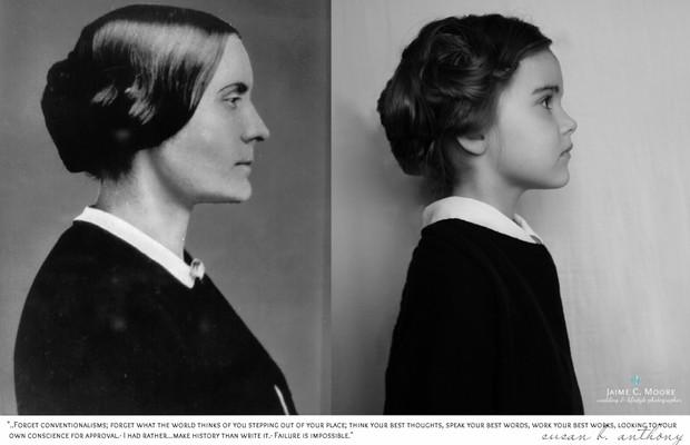 """Susan Anthony: feminista, líder do movimento americano pelos direitos civis no século 19. """"Peça aprovação apenas para a sua própria consciência - eu prefiro fazer a história do que escrevê-la"""" (Foto: Jaime Moore Photography)"""