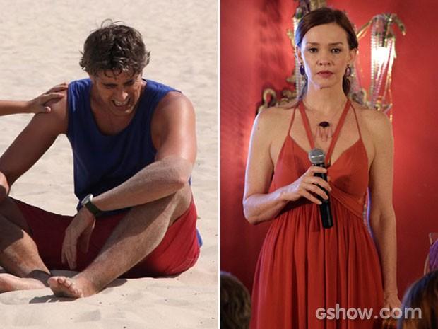 Cadu vai dar um susto no filho. Já Helena ficará paralisada (Foto: Carol Caminha e Fábio Rocha/TV Globo)