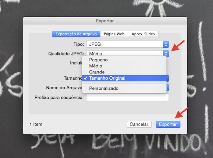 Utilizando a ferramenta de redimensionamento na exportação de imagens do iPhoto (Foto: Reprodução/Marvin Costa)
