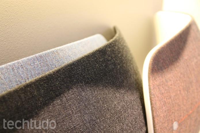 Detalhe do acabamento de tecido do Beoplay A6 (Foto: Fabricio Vitorino/TechTudo)