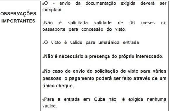 Trecho das orientações que Rodrigo recebeu por e-mail para a viagem a Cuba (Foto: Reprodução/Arquivo pessoal)