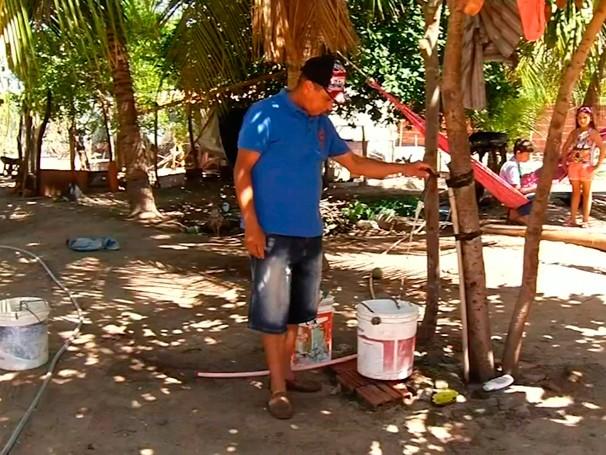 Moradores da comunidade de Macambira se conscientizaram sobre o consumo de água.  (Foto: Globo)