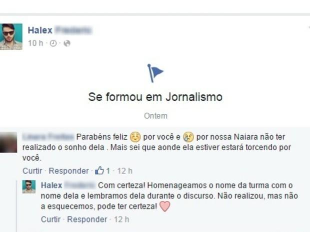 CORRETA Mãe de Naiara Karine expressou seus sentimentos sobre homenagem via internet (Foto: Reprodução/Facebook)