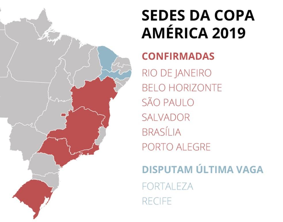 Mapa das sedes da Copa América de 2019 (Foto: Editoria de Arte)