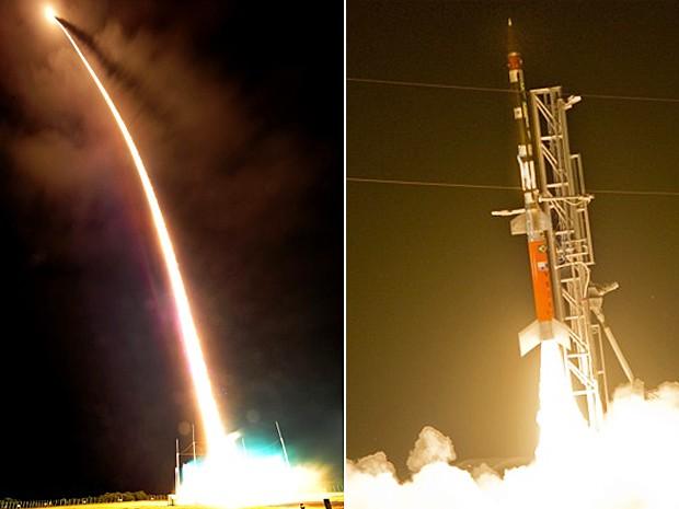 Fotos mostram lançamento do foguete feito em Alcântara, no Maranhão, nesta segunda-feira (1º) (Foto: Divulgação/Aeronáutica)