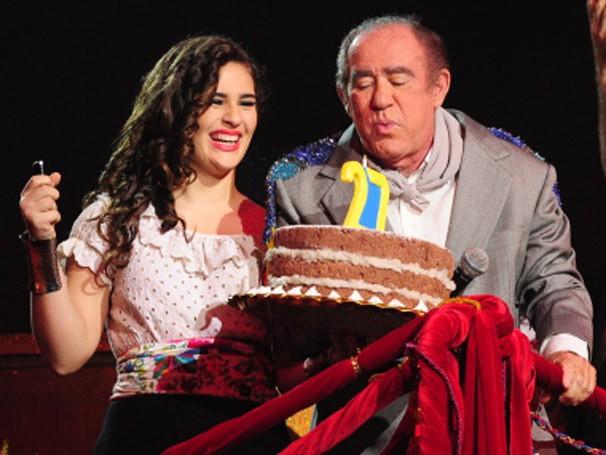 Família Destino com Renato Aragão e a filha, Lívian (Foto: TV Globo)