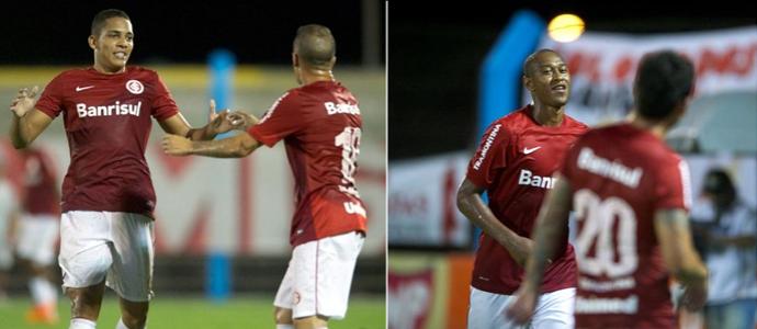 Gilberto e Fabrício arrancaram com gol e assistência em 2014 (Foto: Alexandre Lops/Internacional)