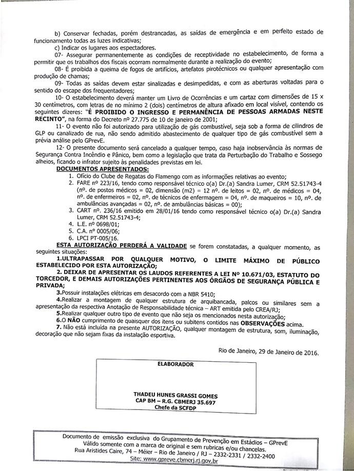 Relatório Edson Passos, Flamengo (Foto: Reprodução)
