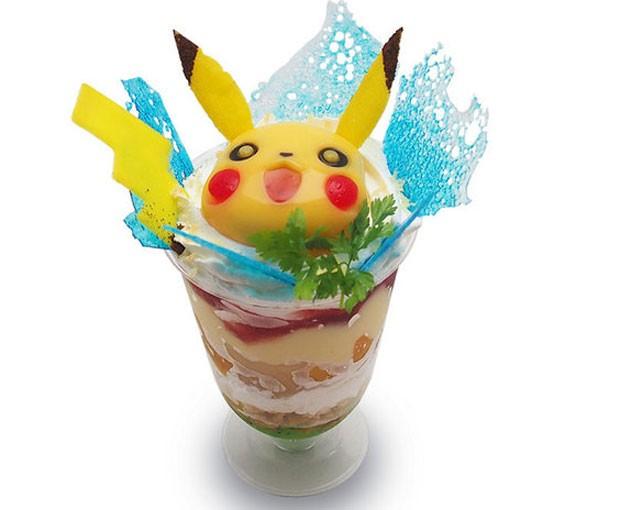 Doce tem o rosto de Pikachu feito de pudim de manga (Foto: Divulgação/Pikachu Cafe)