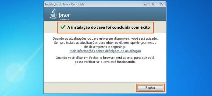 Conclua a instalação do Java no Windows 7 (Foto: Reprodução/Barbara Mannara)