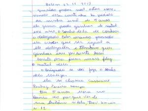 """A cartinha de Beatriz foi escrita no dia 22 de novembro, pedindo para conhecer o delegado e ganhar """"um presente bem bonito"""" (Foto: Divulgação / Correios)"""