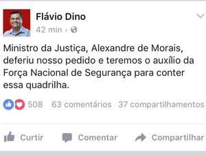 Governador revelou que pediu auxílio à Força Nacional para combater quadrilhas em São Luís (Foto: Reprodução/Twitter/Flávio Dino)