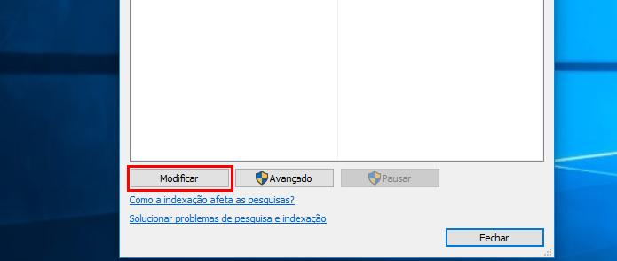 Clicando no botão Modificar na janela Opções de Indexação (Foto: Reprodução/Edivaldo Brito)