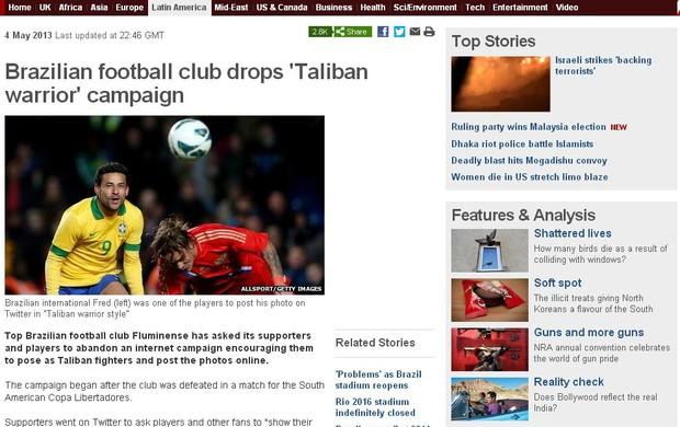 BBC publica matéria sobre o talibã tricolor (Foto: Reprodução BBC)
