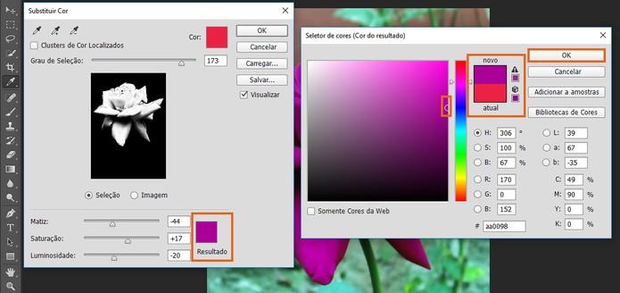 Escolha a cor para a substituição na foto pelo Photoshop (Foto: Reprodução/Barbara Mannara)